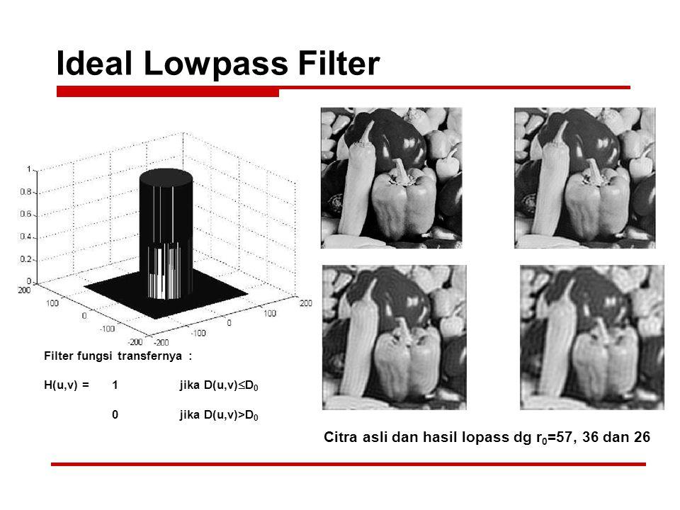 Ideal Lowpass Filter Citra asli dan hasil lopass dg r 0 =57, 36 dan 26 Filter fungsi transfernya : H(u,v) = 1jika D(u,v)  D 0 0jika D(u,v)>D 0