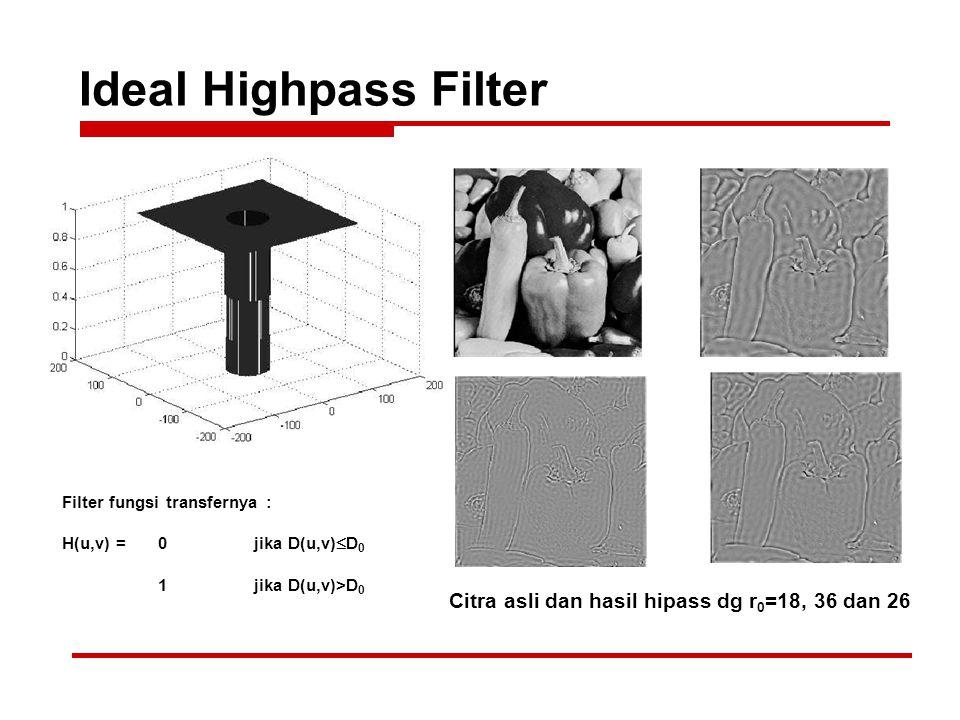 Ideal Highpass Filter Citra asli dan hasil hipass dg r 0 =18, 36 dan 26 Filter fungsi transfernya : H(u,v) = 0jika D(u,v)  D 0 1jika D(u,v)>D 0