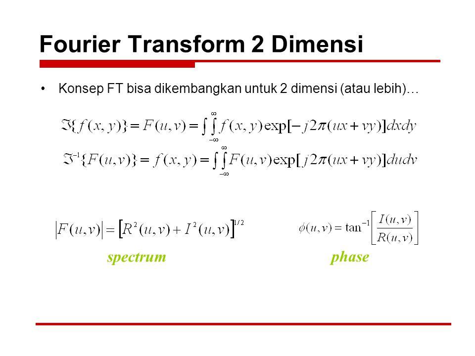 Fourier Transform 2 Dimensi Konsep FT bisa dikembangkan untuk 2 dimensi (atau lebih)… spectrum phase