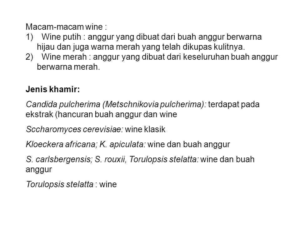 Macam-macam wine : 1) Wine putih : anggur yang dibuat dari buah anggur berwarna hijau dan juga warna merah yang telah dikupas kulitnya.