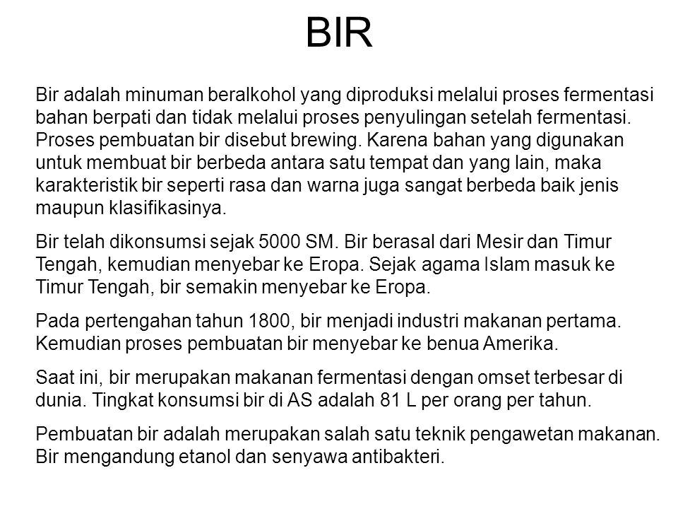 BIR Bir adalah minuman beralkohol yang diproduksi melalui proses fermentasi bahan berpati dan tidak melalui proses penyulingan setelah fermentasi.