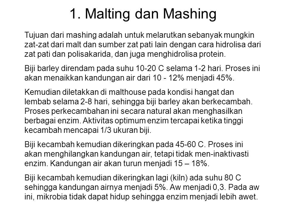 1. Malting dan Mashing Tujuan dari mashing adalah untuk melarutkan sebanyak mungkin zat-zat dari malt dan sumber zat pati lain dengan cara hidrolisa d