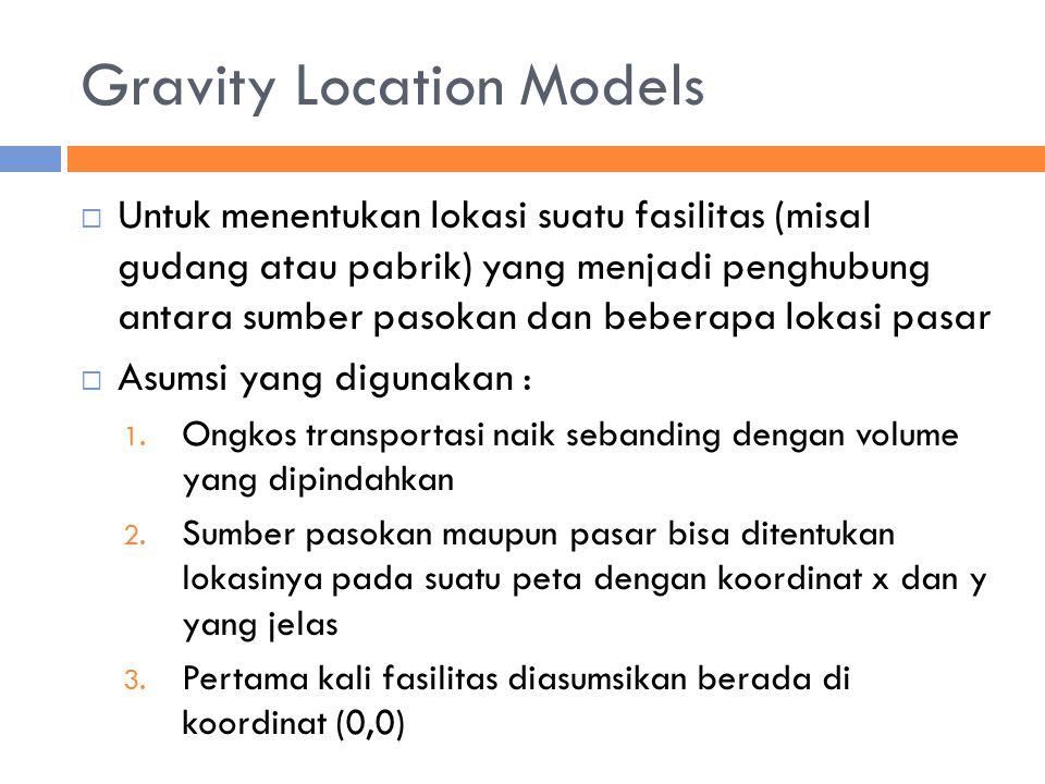 Gravity Location Models  Untuk menentukan lokasi suatu fasilitas (misal gudang atau pabrik) yang menjadi penghubung antara sumber pasokan dan beberapa lokasi pasar  Asumsi yang digunakan : 1.