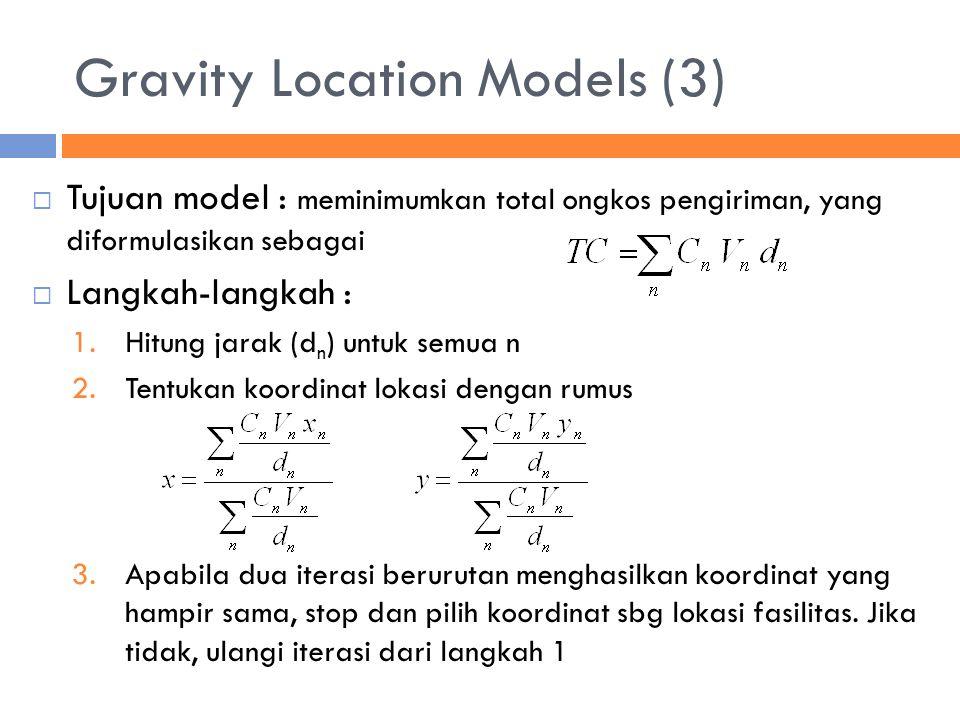 Gravity Location Models (3)  Tujuan model : meminimumkan total ongkos pengiriman, yang diformulasikan sebagai  Langkah-langkah : 1.Hitung jarak (d n ) untuk semua n 2.Tentukan koordinat lokasi dengan rumus 3.Apabila dua iterasi berurutan menghasilkan koordinat yang hampir sama, stop dan pilih koordinat sbg lokasi fasilitas.