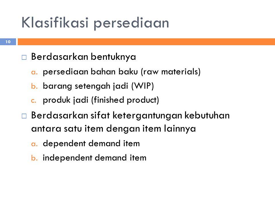Klasifikasi persediaan  Berdasarkan bentuknya a. persediaan bahan baku (raw materials) b. barang setengah jadi (WIP) c. produk jadi (finished product