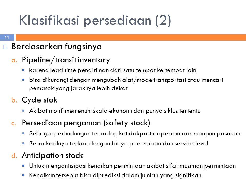 Klasifikasi persediaan (2)  Berdasarkan fungsinya a.