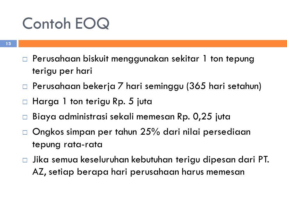 Contoh EOQ  Perusahaan biskuit menggunakan sekitar 1 ton tepung terigu per hari  Perusahaan bekerja 7 hari seminggu (365 hari setahun)  Harga 1 ton