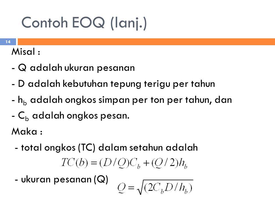 Contoh EOQ (lanj.) Misal : - Q adalah ukuran pesanan - D adalah kebutuhan tepung terigu per tahun - h b adalah ongkos simpan per ton per tahun, dan - C b adalah ongkos pesan.