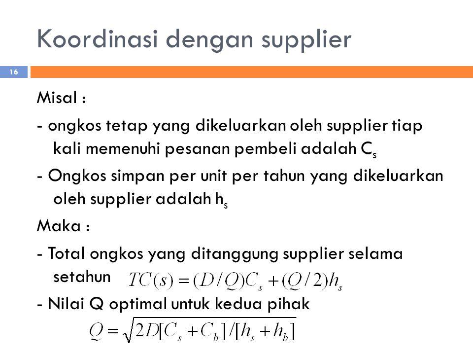 Koordinasi dengan supplier Misal : - ongkos tetap yang dikeluarkan oleh supplier tiap kali memenuhi pesanan pembeli adalah C s - Ongkos simpan per unit per tahun yang dikeluarkan oleh supplier adalah h s Maka : - Total ongkos yang ditanggung supplier selama setahun - Nilai Q optimal untuk kedua pihak 16