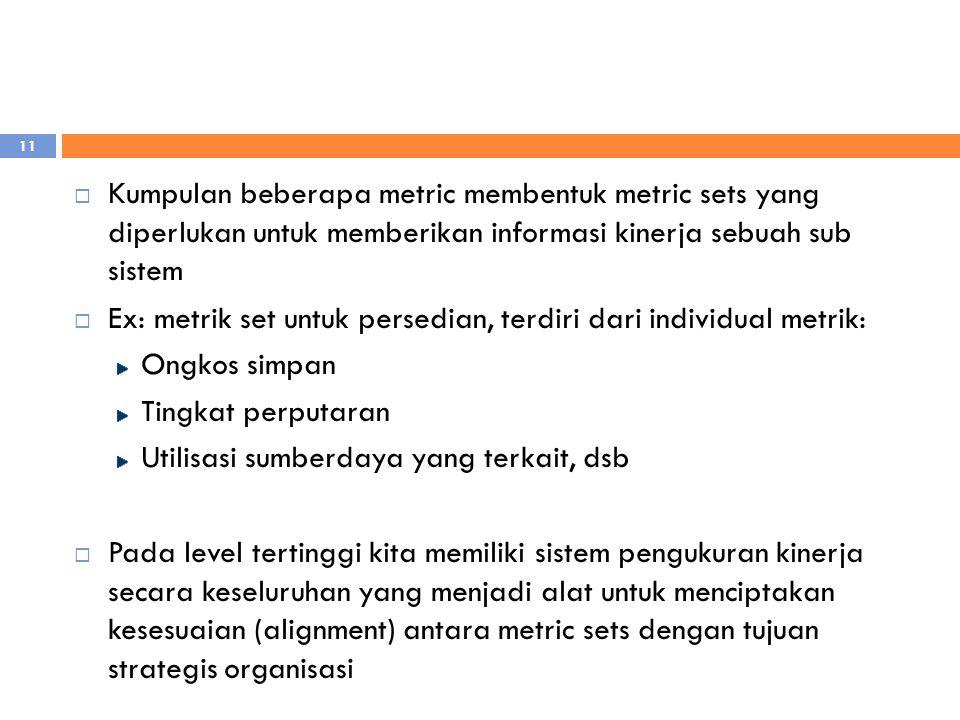  Kumpulan beberapa metric membentuk metric sets yang diperlukan untuk memberikan informasi kinerja sebuah sub sistem  Ex: metrik set untuk persedian, terdiri dari individual metrik: Ongkos simpan Tingkat perputaran Utilisasi sumberdaya yang terkait, dsb  Pada level tertinggi kita memiliki sistem pengukuran kinerja secara keseluruhan yang menjadi alat untuk menciptakan kesesuaian (alignment) antara metric sets dengan tujuan strategis organisasi 11