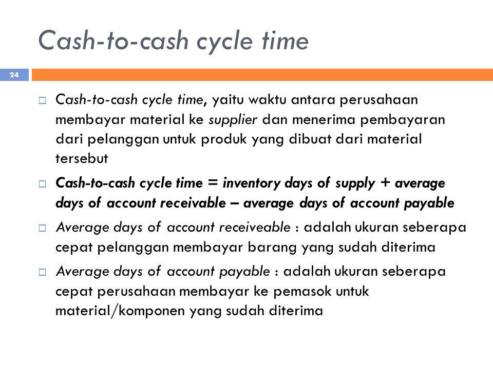 Cash-to-cash cycle time  Cash-to-cash cycle time, yaitu waktu antara perusahaan membayar material ke supplier dan menerima pembayaran dari pelanggan