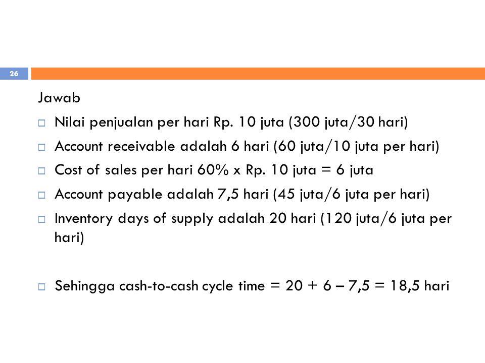 Jawab  Nilai penjualan per hari Rp. 10 juta (300 juta/30 hari)  Account receivable adalah 6 hari (60 juta/10 juta per hari)  Cost of sales per hari