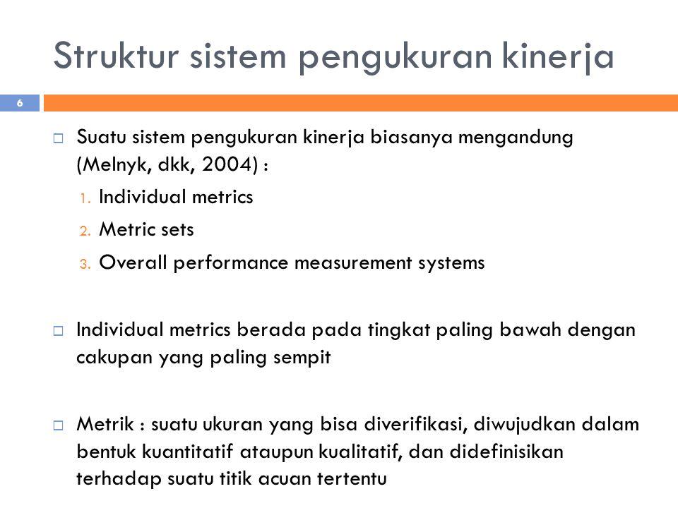 Struktur sistem pengukuran kinerja  Suatu sistem pengukuran kinerja biasanya mengandung (Melnyk, dkk, 2004) : 1. Individual metrics 2. Metric sets 3.