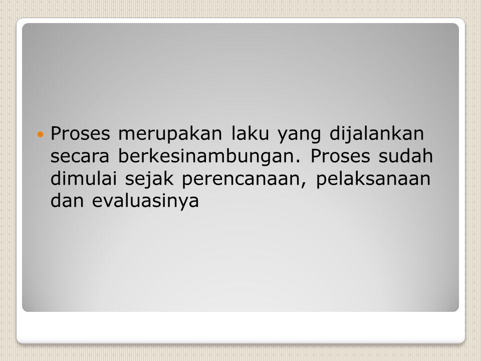 Proses merupakan laku yang dijalankan secara berkesinambungan.