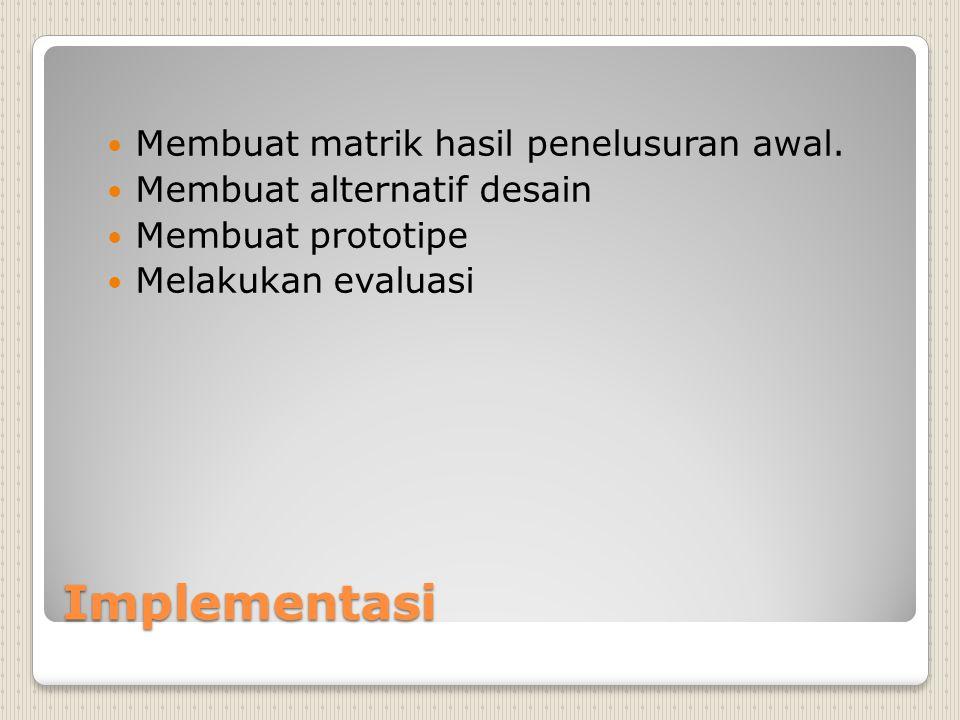 Implementasi Membuat matrik hasil penelusuran awal.
