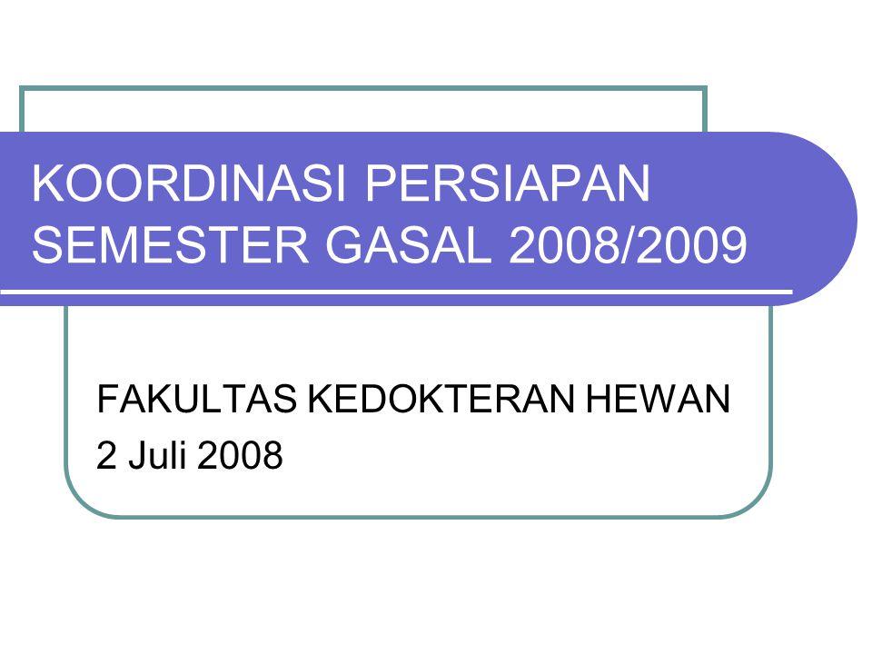 KOORDINASI PERSIAPAN SEMESTER GASAL 2008/2009 FAKULTAS KEDOKTERAN HEWAN 2 Juli 2008
