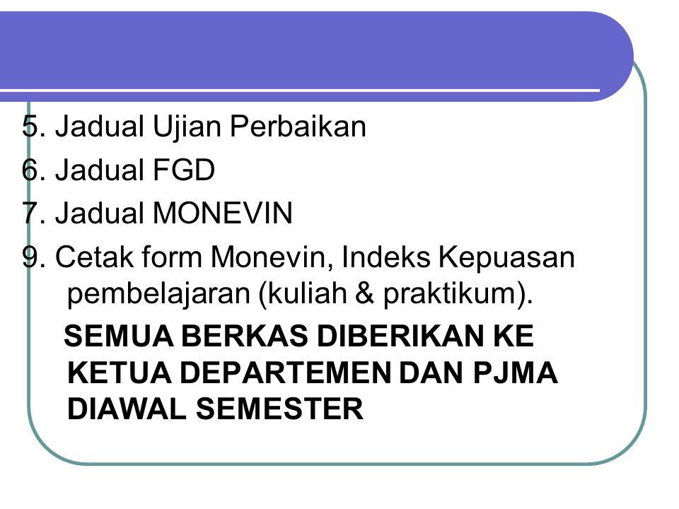 5. Jadual Ujian Perbaikan 6. Jadual FGD 7. Jadual MONEVIN 9.
