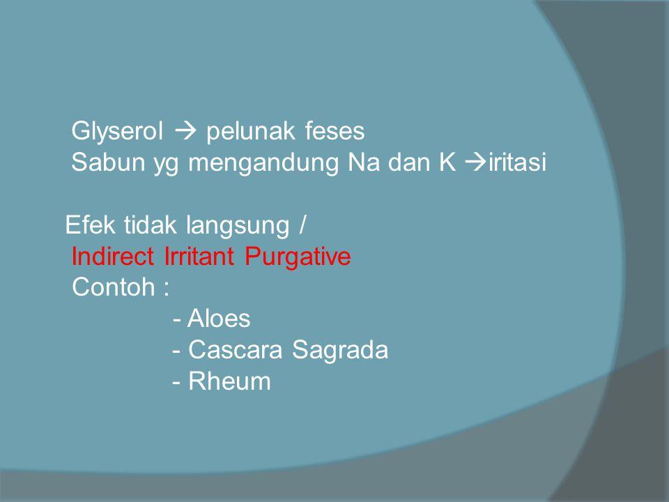  Glyserol  pelunak feses  Sabun yg mengandung Na dan K  iritasi Efek tidak langsung /  Indirect Irritant Purgative Contoh : - Aloes - Cascara Sag