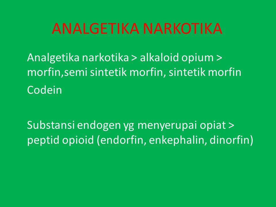ANALGETIKA NARKOTIKA Analgetika narkotika > alkaloid opium > morfin,semi sintetik morfin, sintetik morfin Codein Substansi endogen yg menyerupai opiat > peptid opioid (endorfin, enkephalin, dinorfin)