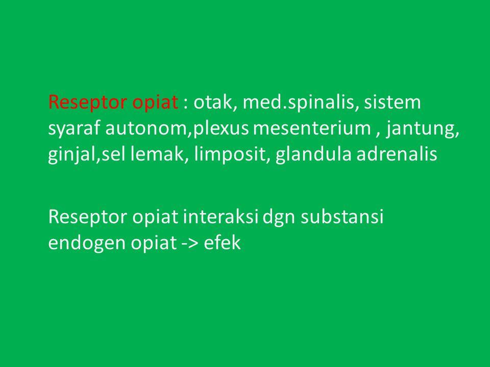 Reseptor opiat : otak, med.spinalis, sistem syaraf autonom,plexus mesenterium, jantung, ginjal,sel lemak, limposit, glandula adrenalis Reseptor opiat interaksi dgn substansi endogen opiat -> efek