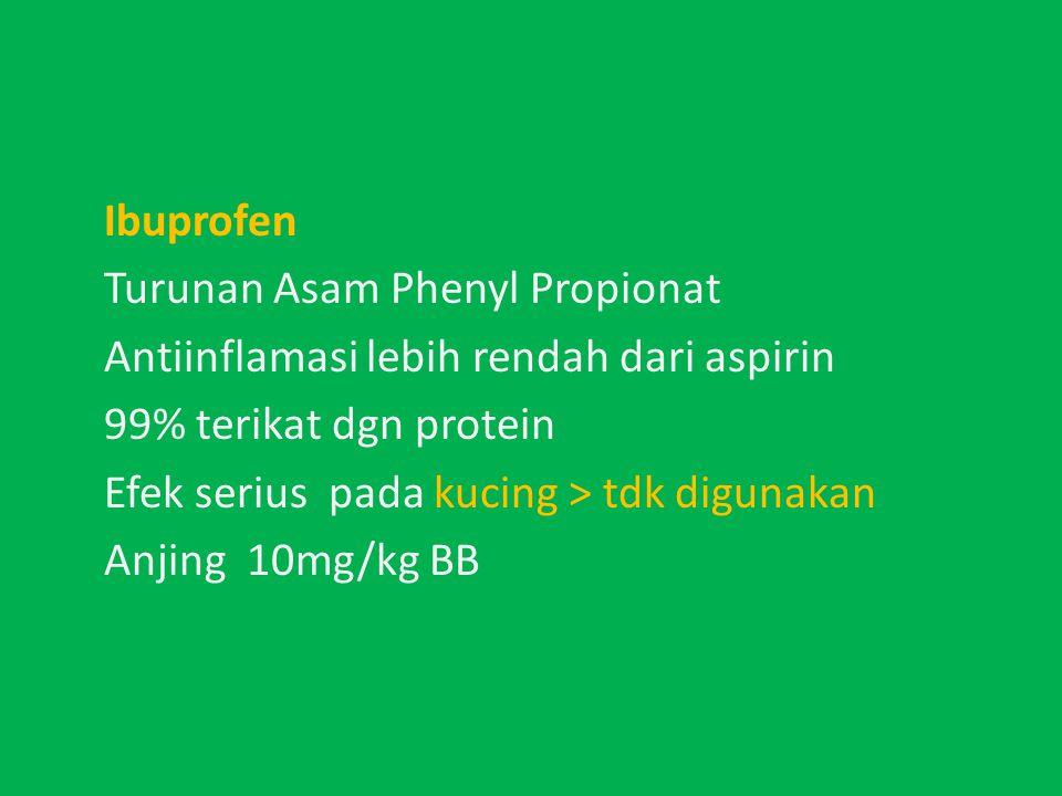 Ibuprofen Turunan Asam Phenyl Propionat Antiinflamasi lebih rendah dari aspirin 99% terikat dgn protein Efek serius pada kucing > tdk digunakan Anjing 10mg/kg BB