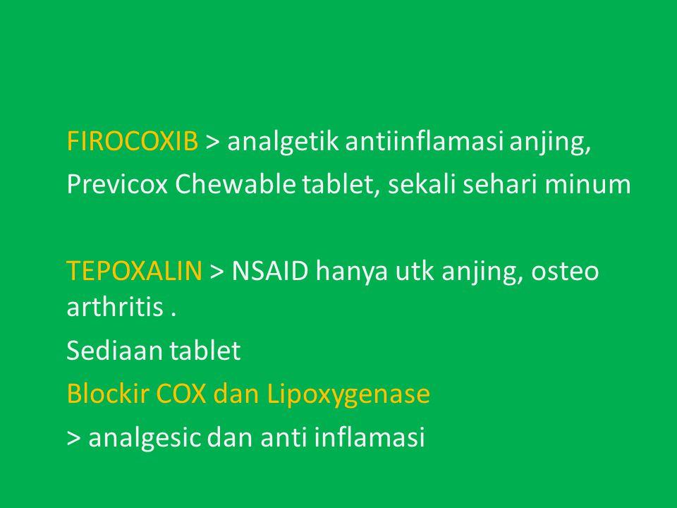 FIROCOXIB > analgetik antiinflamasi anjing, Previcox Chewable tablet, sekali sehari minum TEPOXALIN > NSAID hanya utk anjing, osteo arthritis.