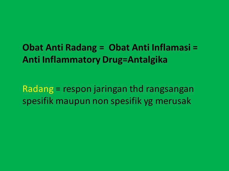 Obat Anti Radang = Obat Anti Inflamasi = Anti Inflammatory Drug=Antalgika Radang = respon jaringan thd rangsangan spesifik maupun non spesifik yg merusak