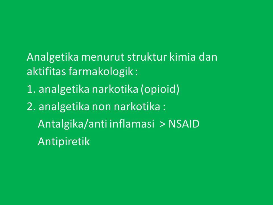 Analgetika menurut struktur kimia dan aktifitas farmakologik : 1.