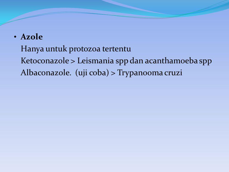 Azole Hanya untuk protozoa tertentu Ketoconazole > Leismania spp dan acanthamoeba spp Albaconazole. (uji coba) > Trypanooma cruzi