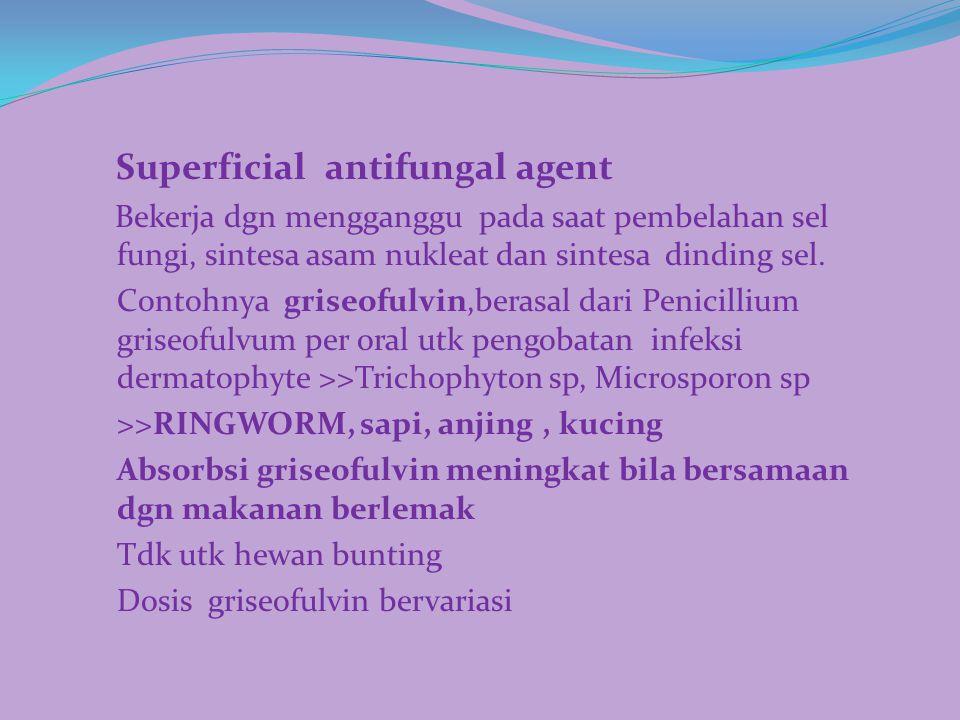 Superficial antifungal agent Bekerja dgn mengganggu pada saat pembelahan sel fungi, sintesa asam nukleat dan sintesa dinding sel. Contohnya griseofulv