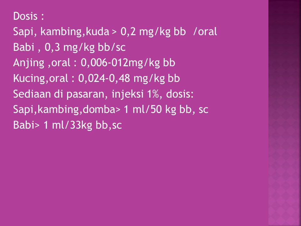ORGANOPHOSPHAT Menghambat aktivitas choline esterase, yg menyebabkan tidak aktifnya acethyl cholin, dan parasit (endo maupun ecto) tidak bisa bergerak Neurotoxic pada parasit, beberapa menyebabkan efek samping pada hospes Margin of safety nya sempit,tdk bisa utk cacing jantung pada anjing Pd dosis toksik  lacrimasi,hypersalivasi,gangguan GIT, emesis, defikasi.