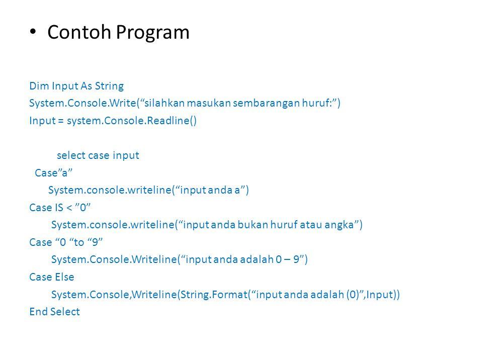"""Contoh Program Dim Input As String System.Console.Write(""""silahkan masukan sembarangan huruf:"""") Input = system.Console.Readline() select case input Cas"""