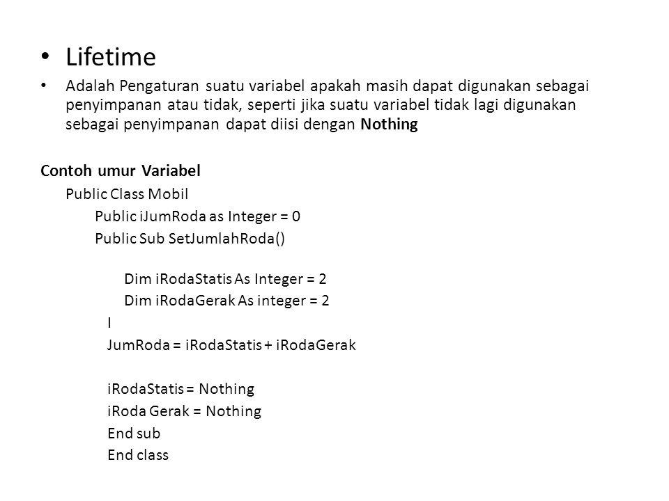 Contoh Program Dim Input As String System.Console.Write( silahkan masukan sembarangan huruf: ) Input = system.Console.Readline() select case input Case a System.console.writeline( input anda a ) Case IS < 0 System.console.writeline( input anda bukan huruf atau angka ) Case 0 to 9 System.Console.Writeline( input anda adalah 0 – 9 ) Case Else System.Console,Writeline(String.Format( input anda adalah (0) ,Input)) End Select