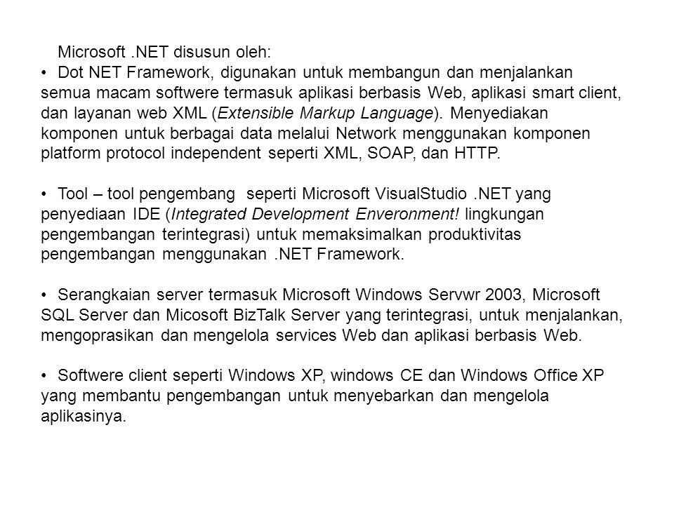 Microsoft.NET disusun oleh: Dot NET Framework, digunakan untuk membangun dan menjalankan semua macam softwere termasuk aplikasi berbasis Web, aplikasi smart client, dan layanan web XML (Extensible Markup Language).