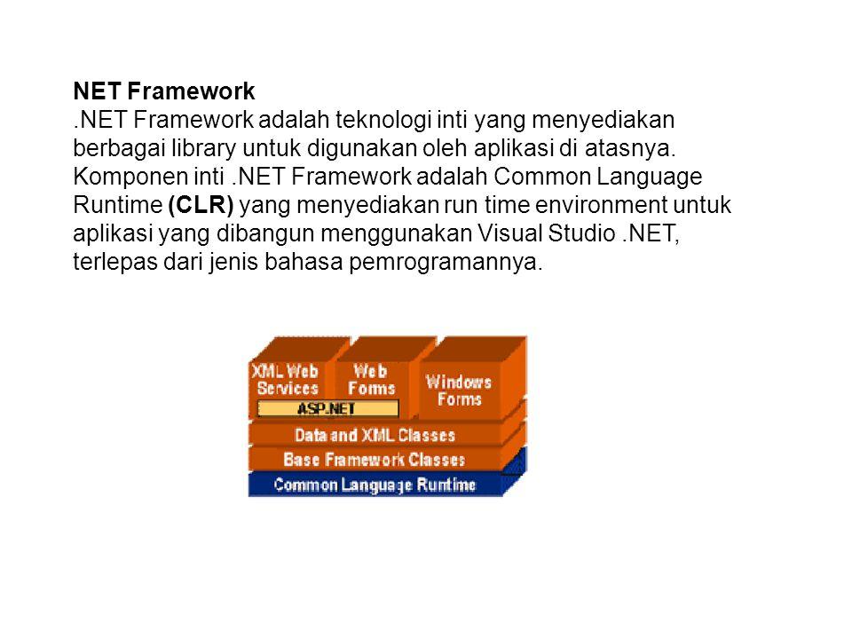 NET Framework.NET Framework adalah teknologi inti yang menyediakan berbagai library untuk digunakan oleh aplikasi di atasnya.
