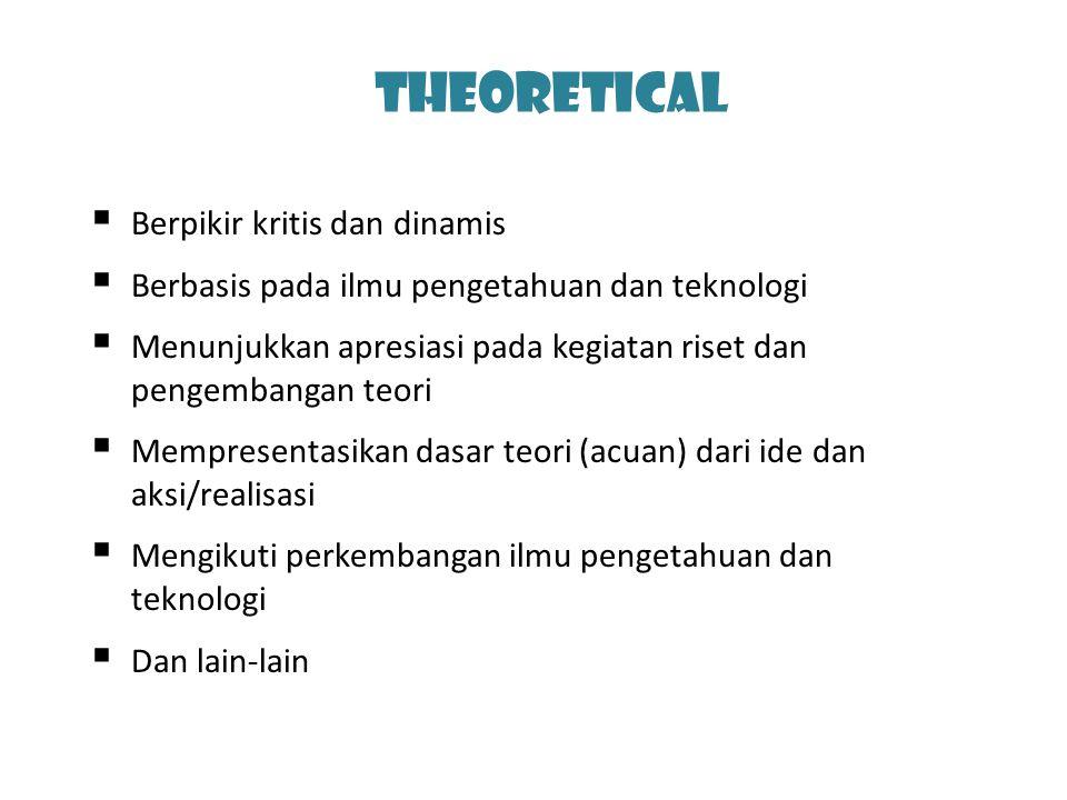 Theoretical  Berpikir kritis dan dinamis  Berbasis pada ilmu pengetahuan dan teknologi  Menunjukkan apresiasi pada kegiatan riset dan pengembangan teori  Mempresentasikan dasar teori (acuan) dari ide dan aksi/realisasi  Mengikuti perkembangan ilmu pengetahuan dan teknologi  Dan lain-lain