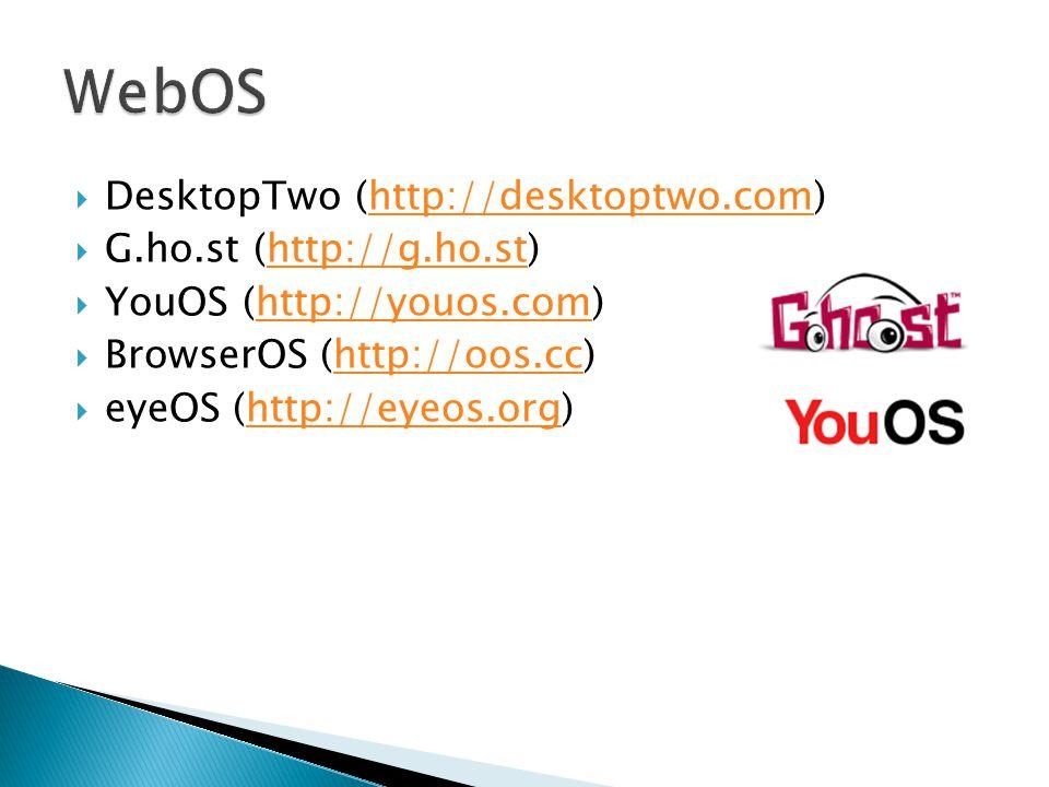  DesktopTwo (http://desktoptwo.com)http://desktoptwo.com  G.ho.st (http://g.ho.st)http://g.ho.st  YouOS (http://youos.com)http://youos.com  BrowserOS (http://oos.cc)http://oos.cc  eyeOS (http://eyeos.org)http://eyeos.org