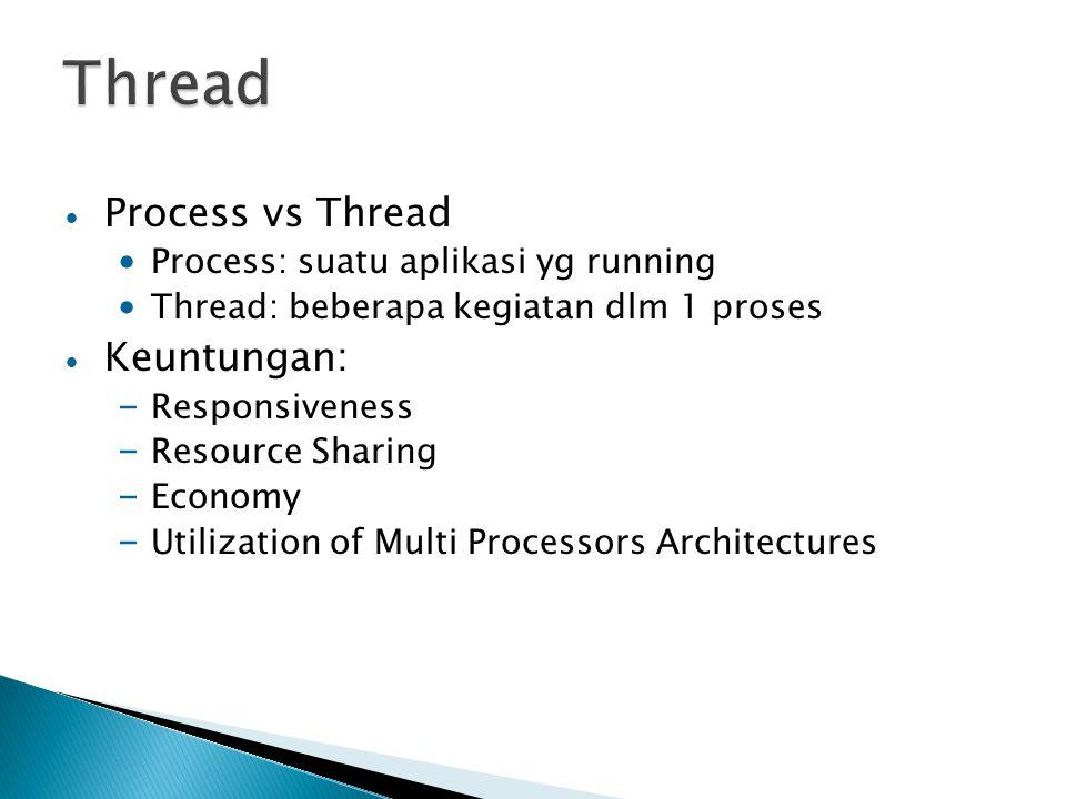 Process vs Thread Process: suatu aplikasi yg running Thread: beberapa kegiatan dlm 1 proses Keuntungan: – Responsiveness – Resource Sharing – Economy – Utilization of Multi Processors Architectures