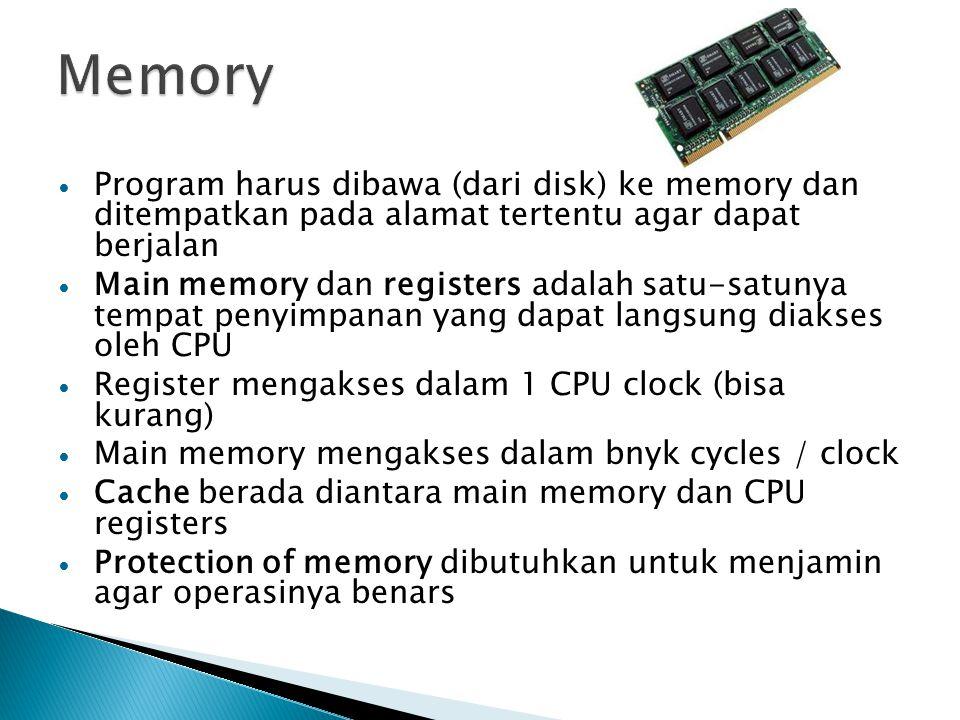 Program harus dibawa (dari disk) ke memory dan ditempatkan pada alamat tertentu agar dapat berjalan Main memory dan registers adalah satu-satunya tempat penyimpanan yang dapat langsung diakses oleh CPU Register mengakses dalam 1 CPU clock (bisa kurang) Main memory mengakses dalam bnyk cycles / clock Cache berada diantara main memory dan CPU registers Protection of memory dibutuhkan untuk menjamin agar operasinya benars