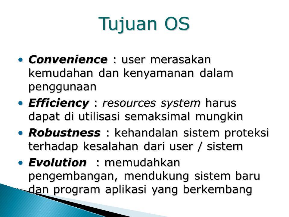 Tujuan OS Convenience : user merasakan kemudahan dan kenyamanan dalam penggunaanConvenience : user merasakan kemudahan dan kenyamanan dalam penggunaan