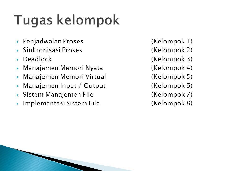  Penjadwalan Proses (Kelompok 1)  Sinkronisasi Proses (Kelompok 2)  Deadlock (Kelompok 3)  Manajemen Memori Nyata (Kelompok 4)  Manajemen Memori Virtual (Kelompok 5)  Manajemen Input / Output (Kelompok 6)  Sistem Manajemen File (Kelompok 7)  Implementasi Sistem File (Kelompok 8)