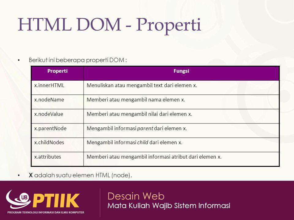 Desain Web Mata Kuliah Wajib Sistem Informasi HTML DOM - Properti Berikut ini beberapa properti DOM : X adalah suatu elemen HTML (node).