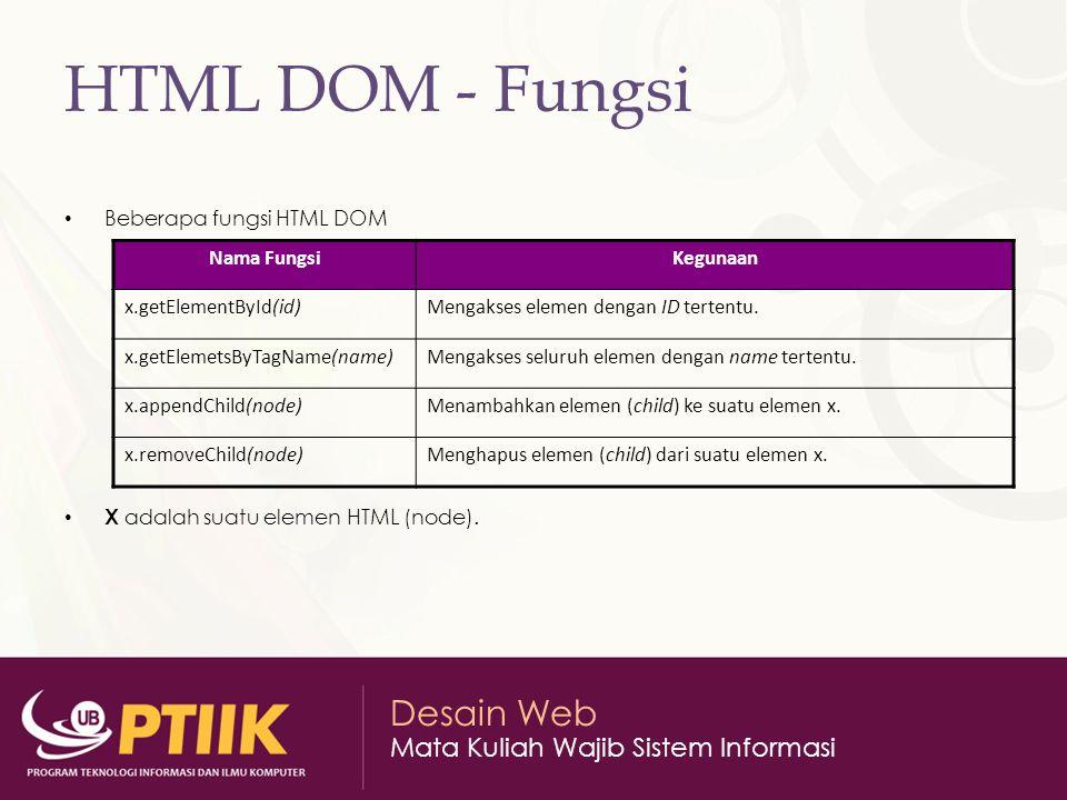 Desain Web Mata Kuliah Wajib Sistem Informasi HTML DOM - Fungsi Beberapa fungsi HTML DOM X adalah suatu elemen HTML (node).