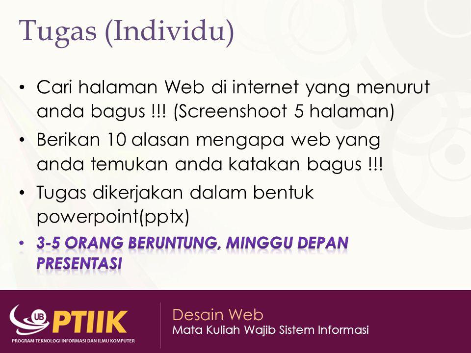 Desain Web Mata Kuliah Wajib Sistem Informasi Tugas (Individu)