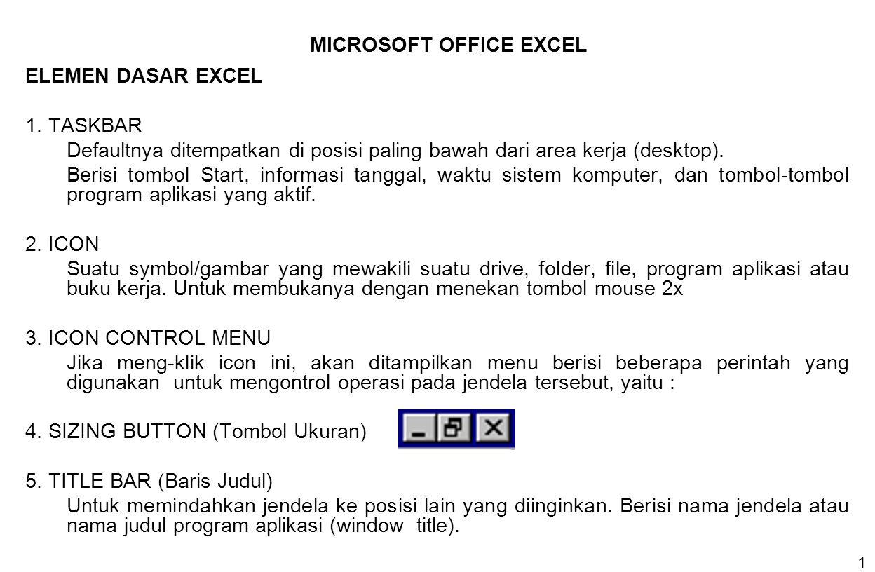 1 ELEMEN DASAR EXCEL 1. TASKBAR Defaultnya ditempatkan di posisi paling bawah dari area kerja (desktop). Berisi tombol Start, informasi tanggal, waktu