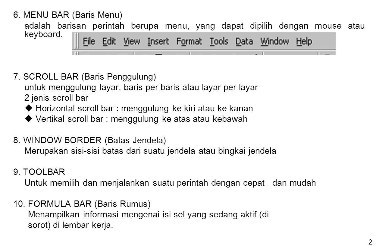 2 6. MENU BAR (Baris Menu) adalah barisan perintah berupa menu, yang dapat dipilih dengan mouse atau keyboard. 7. SCROLL BAR (Baris Penggulung) untuk