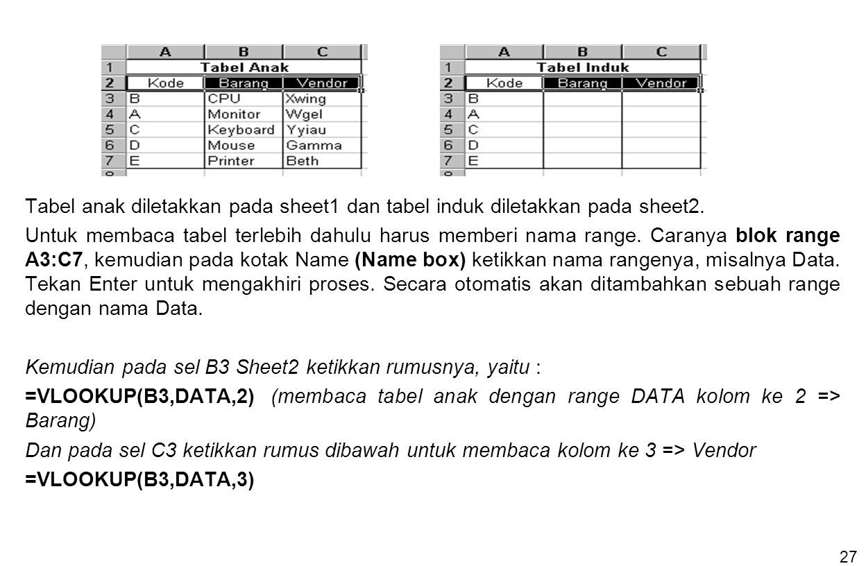 27 Tabel anak diletakkan pada sheet1 dan tabel induk diletakkan pada sheet2. Untuk membaca tabel terlebih dahulu harus memberi nama range. Caranya blo