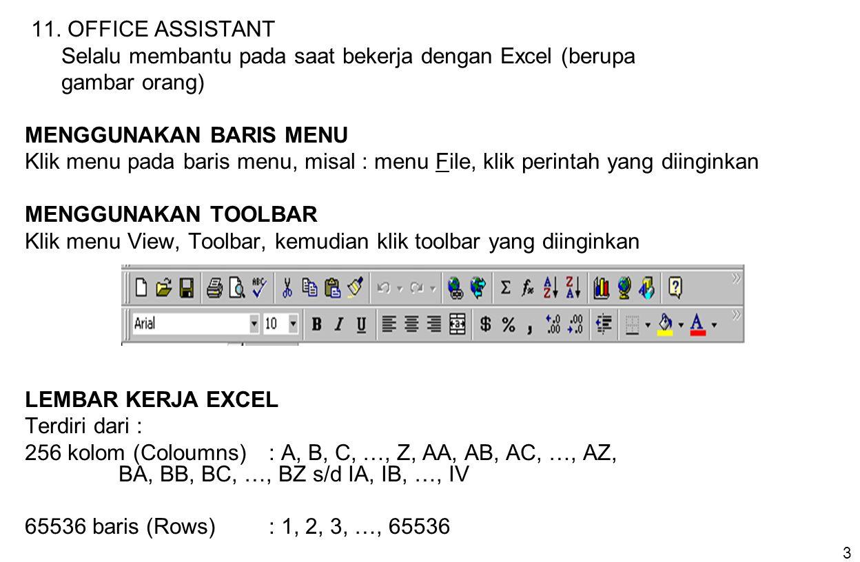 3 11. OFFICE ASSISTANT Selalu membantu pada saat bekerja dengan Excel (berupa gambar orang) MENGGUNAKAN BARIS MENU Klik menu pada baris menu, misal :