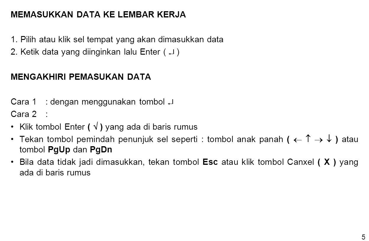 5 MEMASUKKAN DATA KE LEMBAR KERJA 1. Pilih atau klik sel tempat yang akan dimasukkan data 2. Ketik data yang diinginkan lalu Enter (  ) MENGAKHIRI PE