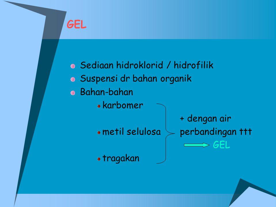 GEL Sediaan hidroklorid / hidrofilik Suspensi dr bahan organik Bahan-bahan karbomer + dengan air metil selulosaperbandingan ttt GEL tragakan